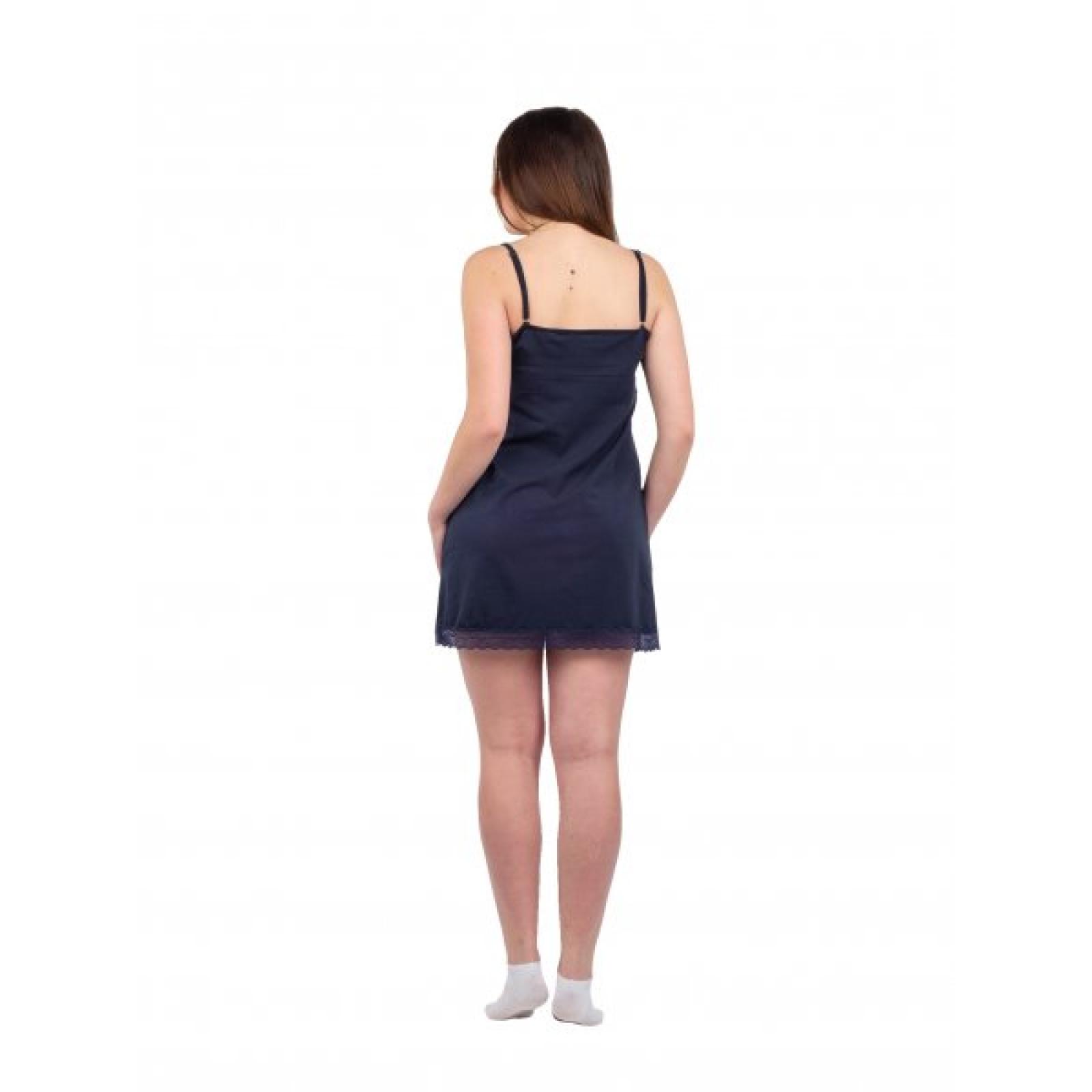 Сорочка на лямках тёмно-синяя М-0005ТС