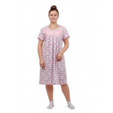 Сорочка (кокетка) Розовые цветочки-бабочки М-0068Р