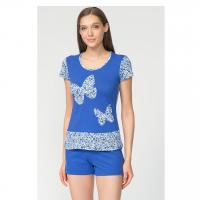 Пижама Цветы - 3D синяя М-0054/57С
