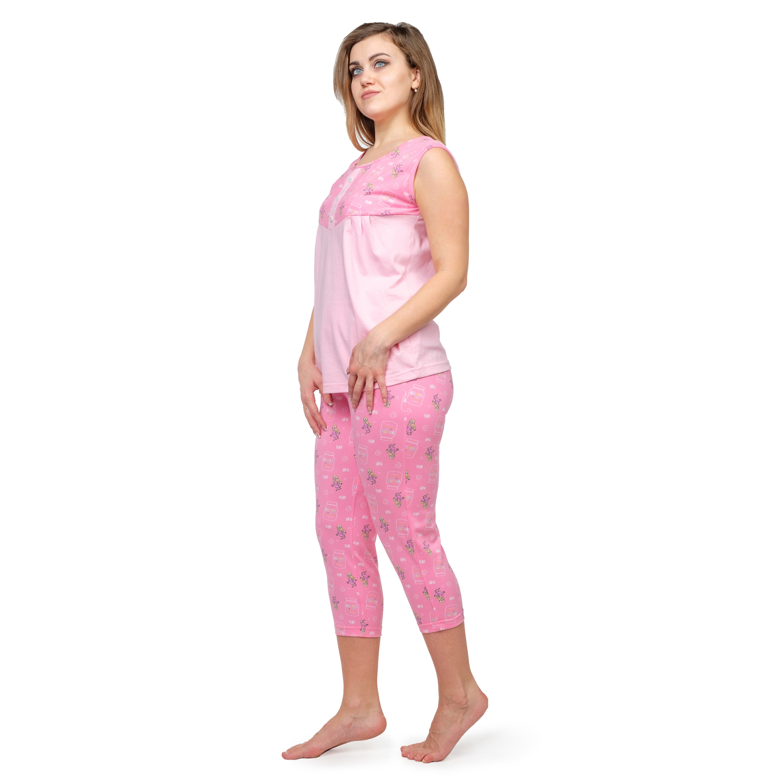 Пижама (майка+бриджи) розовая М-0087Р