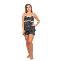 Пижама (чёрная, мелкий цветочек) Агата на бретельках М-0057Ч