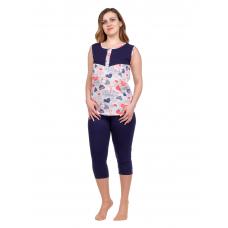 Пижама (майка+бриджи) тёмно-синяя М-0087ТС