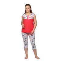Пижама (майка+бриджи) красная М-0087К