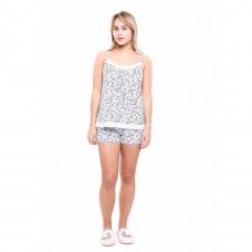 Пижама белая в мелкий цветочек на бретельках М-0057