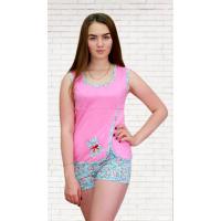Пижама (с запахом, аппликация) Мишка (майка+шорты) М-0021