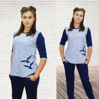 Пижама Волна (брюки+блузка) М-0017В