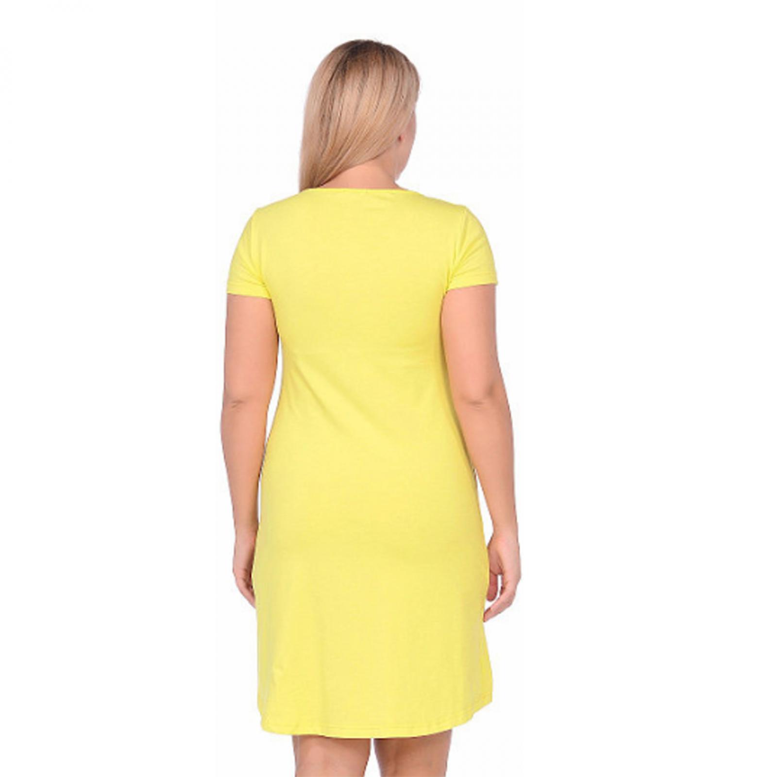 Платье жёлтое (принт) М-0072Ж
