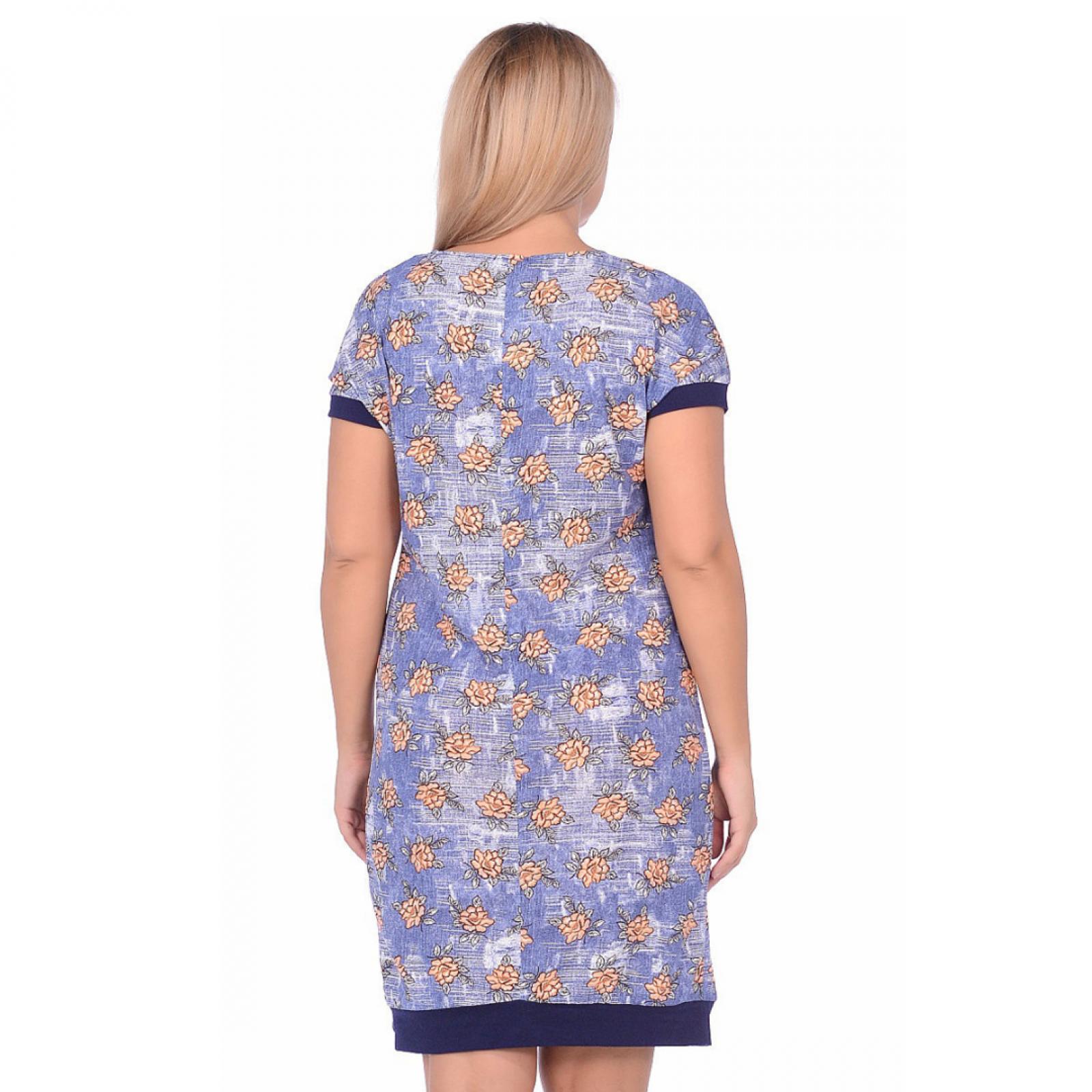 Платье Цветы (джинс, оранж) М-0080