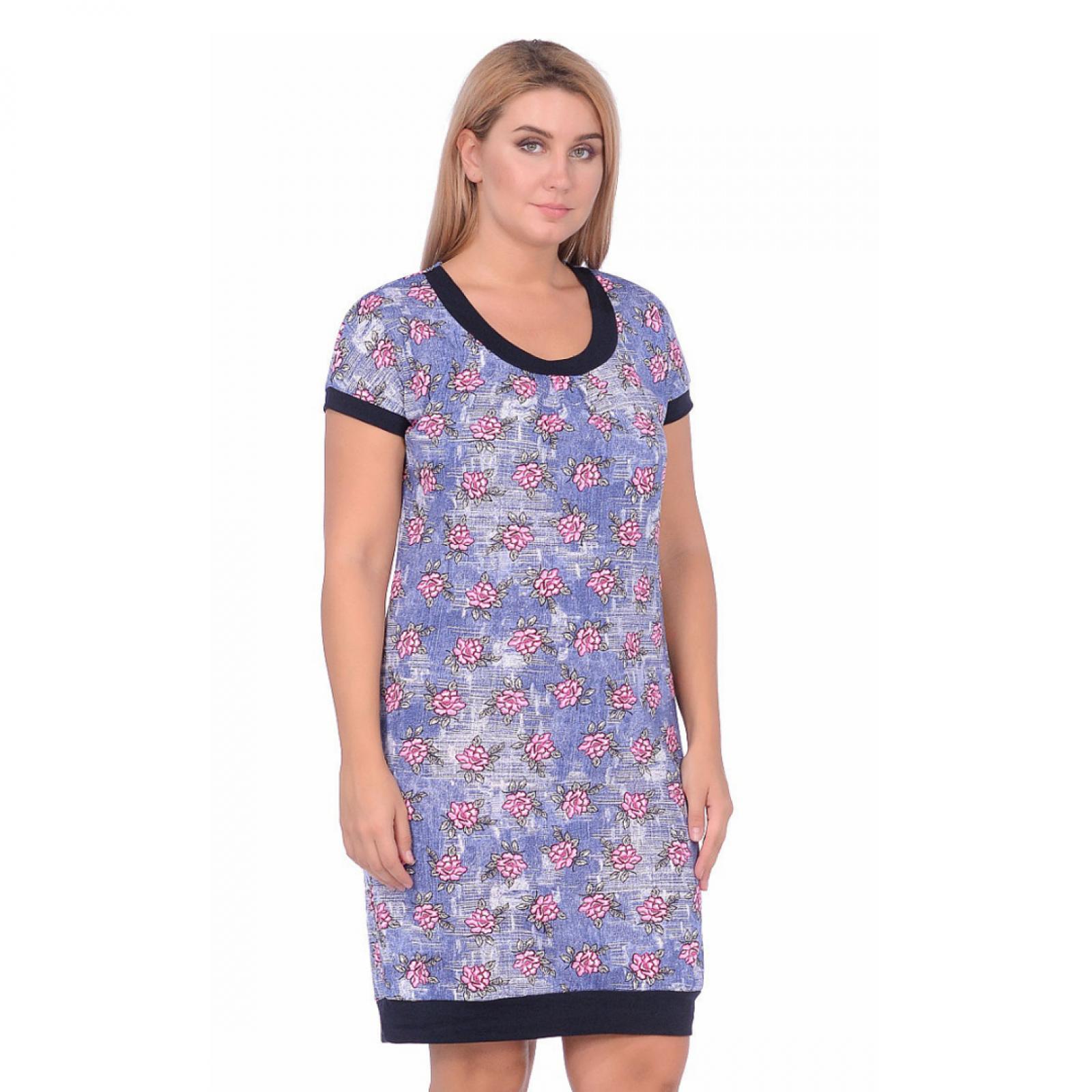 Платье Цветы (джинс, розовые цветы) М-0080