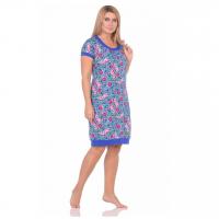 Платье синее Розовые цветы М-0080