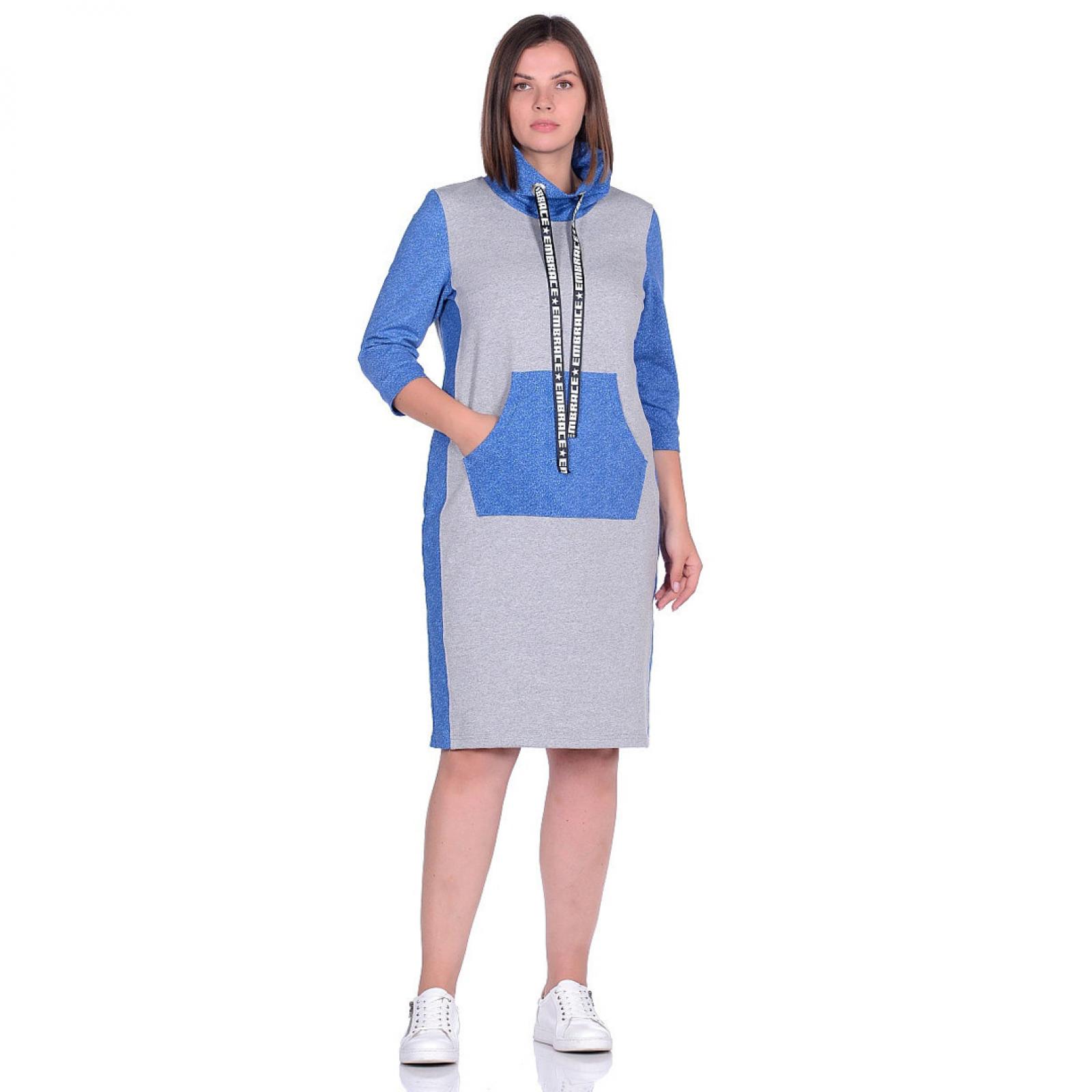 Платье серое Синий карман М-0166СС