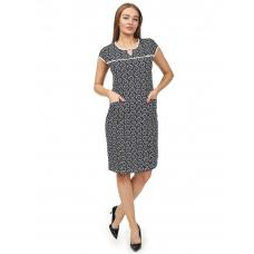 Платье чёрно-белое Цветы М-0078ЧБ