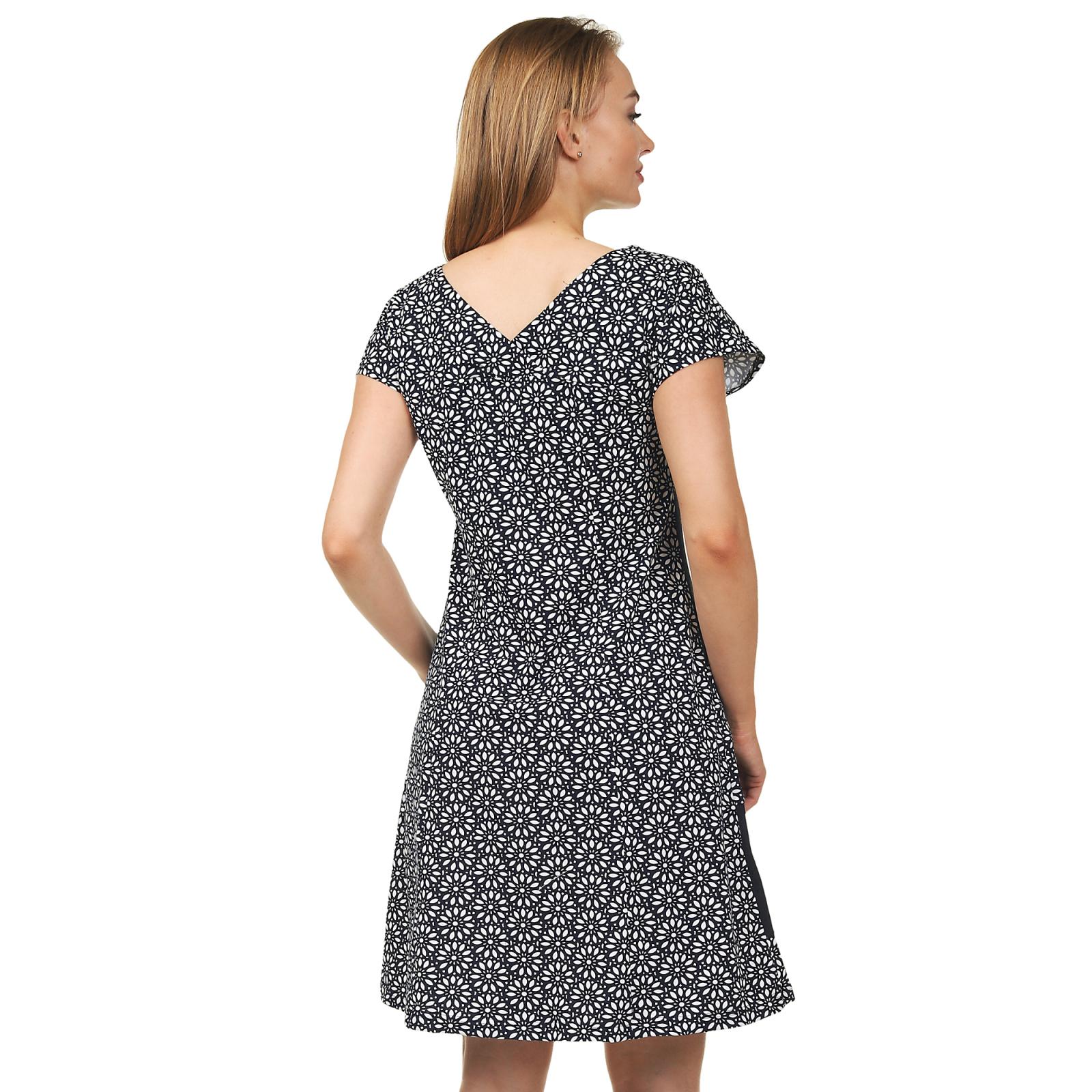 Платье чёрно-белое с цветами М-0122ЧБ