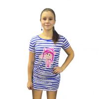 Платье домашнее в полоску Нюша М-0106