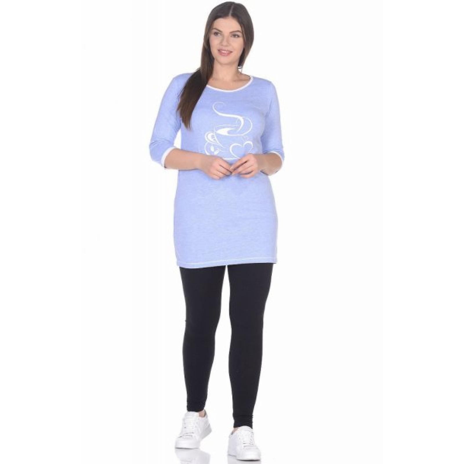 Платье домашнее голубое Чашка кофе М-0106Г