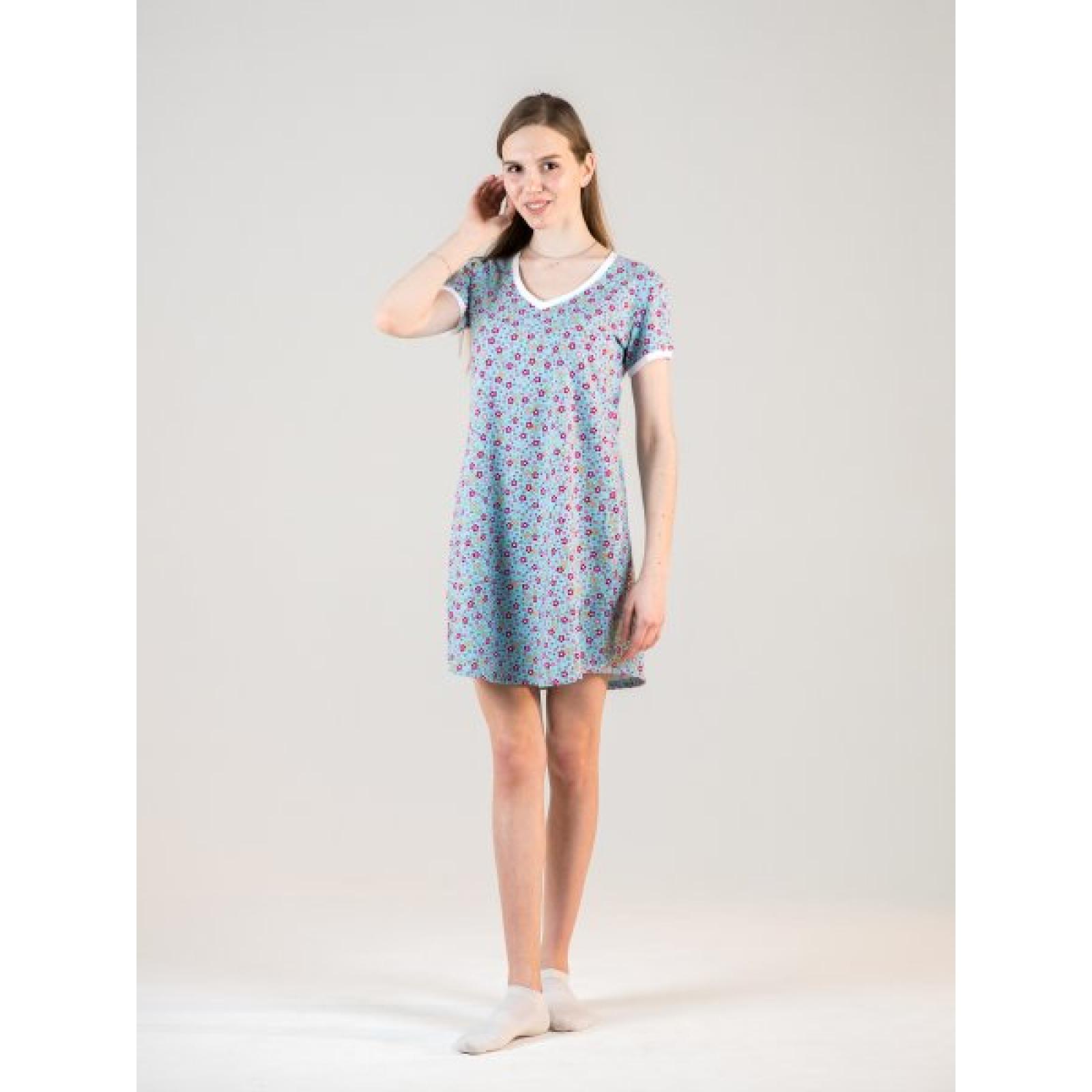 Платье домашнее Голубые цветочки М-0012Г