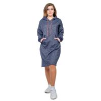 Платье тёмно-синее (футер) с капюшоном М-0159ТС