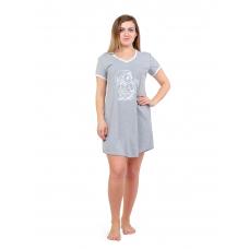 Домашнее платье  серое (принт) Сова М-0012СС