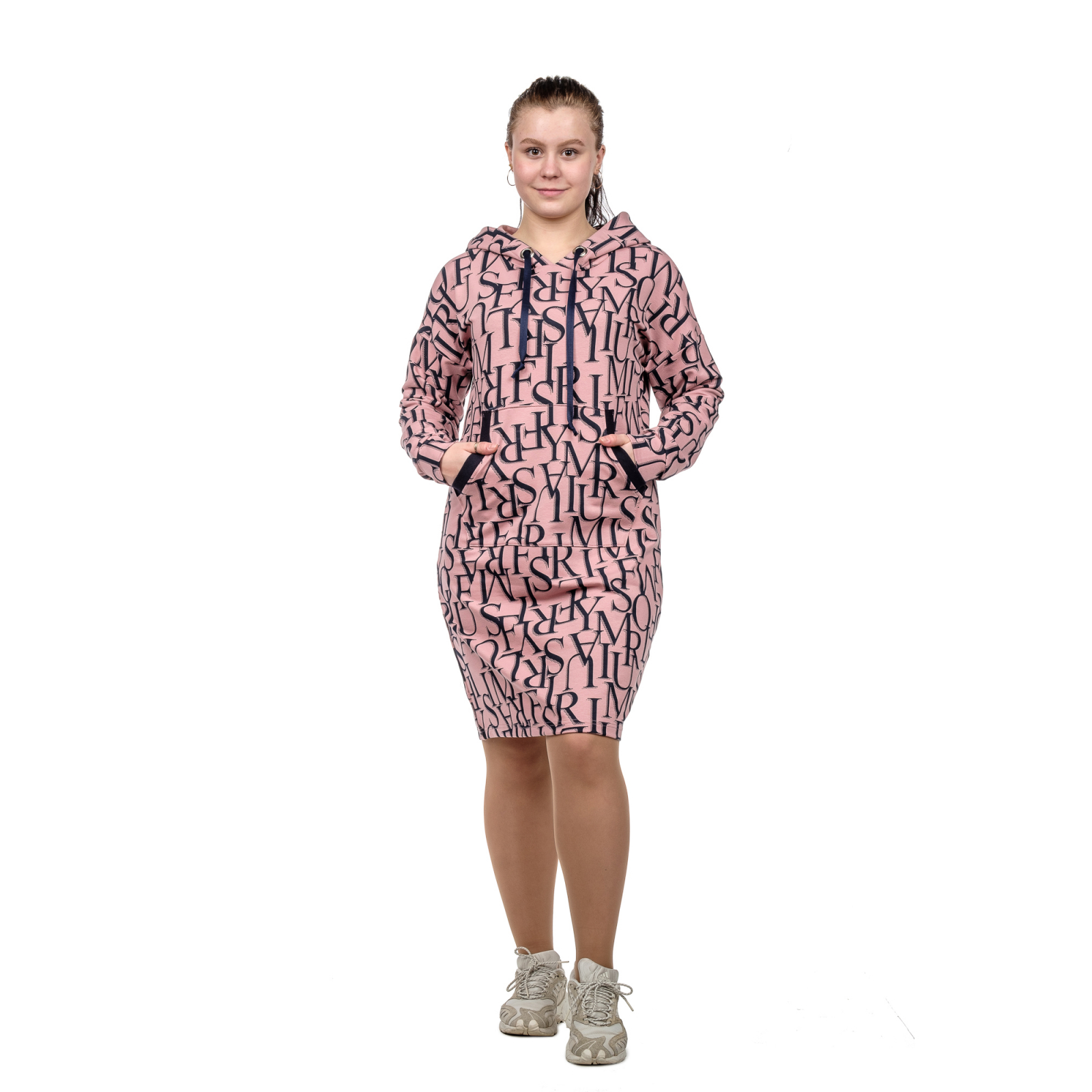 Платье (розовая пудра) Буквы (футер) с капюшоном М-0159Р