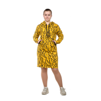 Платье (горчица) Буквы (футер) с капюшоном М-0159ГОР