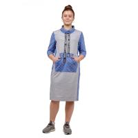 Платье серое Синяя клетка М-0166СС